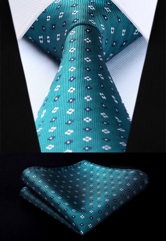 Woven Classic Tie Necktie  Aqua Polka Dot 3.4