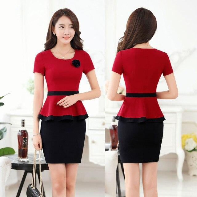 Лето Формальные Красный Пиджак Женщин Buiness Костюмы с Вершины И юбка Устанавливает Мода Офис Дамы Работа Костюмы ПР Стиль Плюс размер