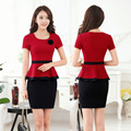 Verão Formais Ternos Blazer Vermelho Mulheres Buiness com Tops E Conjuntos de saia de Moda Escritório Ladies Trabalho Ternos OL Estilo Plus Size tamanho