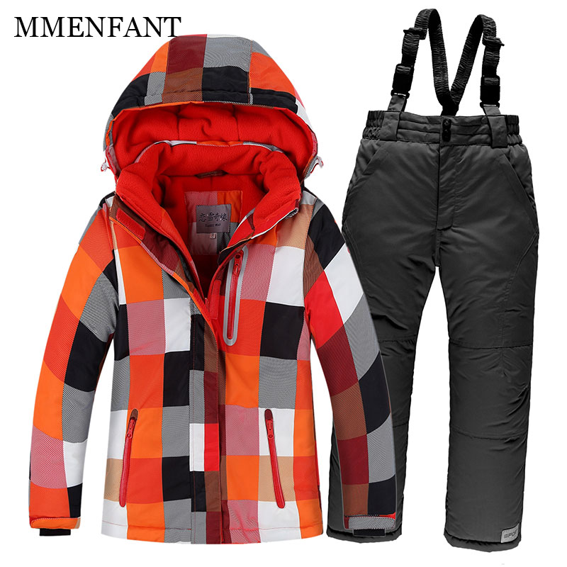 -40 Degree Winter family christmas Outerwear father mother son daughter clothes kids Warm Thicken Coat Sporty Snow Ski Suit Sets