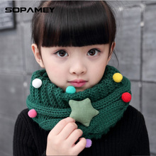 Children Scarves Autumn and Winter Warm Korean Version of the Collar Boys and Girls Knit Neck Sets of Stars O Ring Baby Scarf