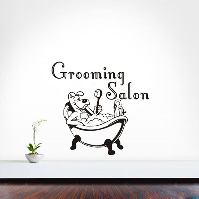2017 desain baru vinyl wall decals kreatif diri perekat stiker dinding removable decal pet grooming salon
