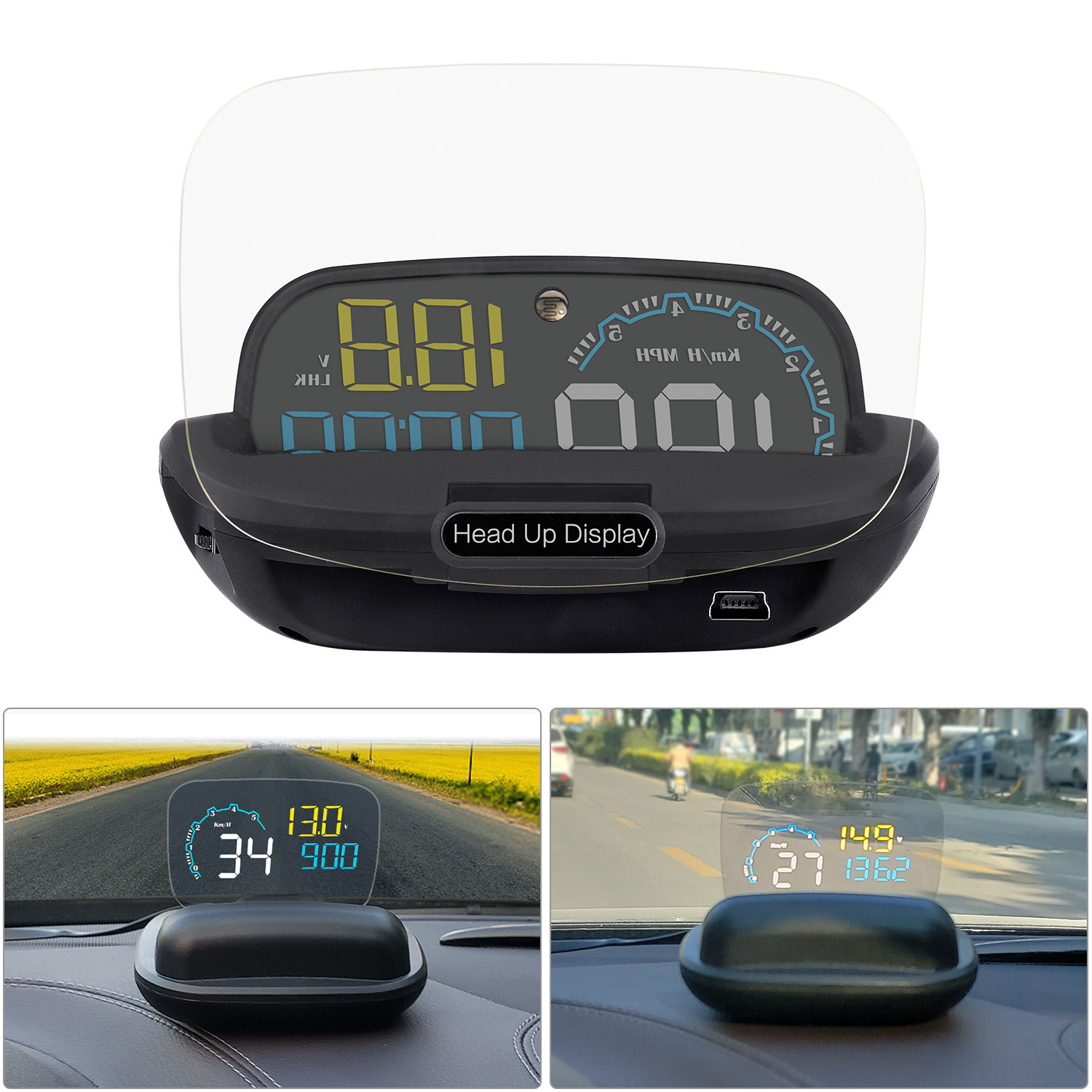 Image 5 - GEYIREN New Arrival Mirror HUD C600 Car Head up display Windshield Speed Projector Security Alarm Overspeed RPM Voltage-in Head-up Display from Automobiles & Motorcycles