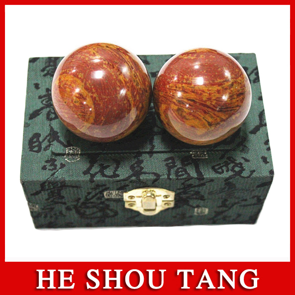 5A Grade Energy Red Sibin Bianstone Massage Ball /Health Hand Fit Ball/Red-brown Stone/Dredging Channel, Activate Immune System
