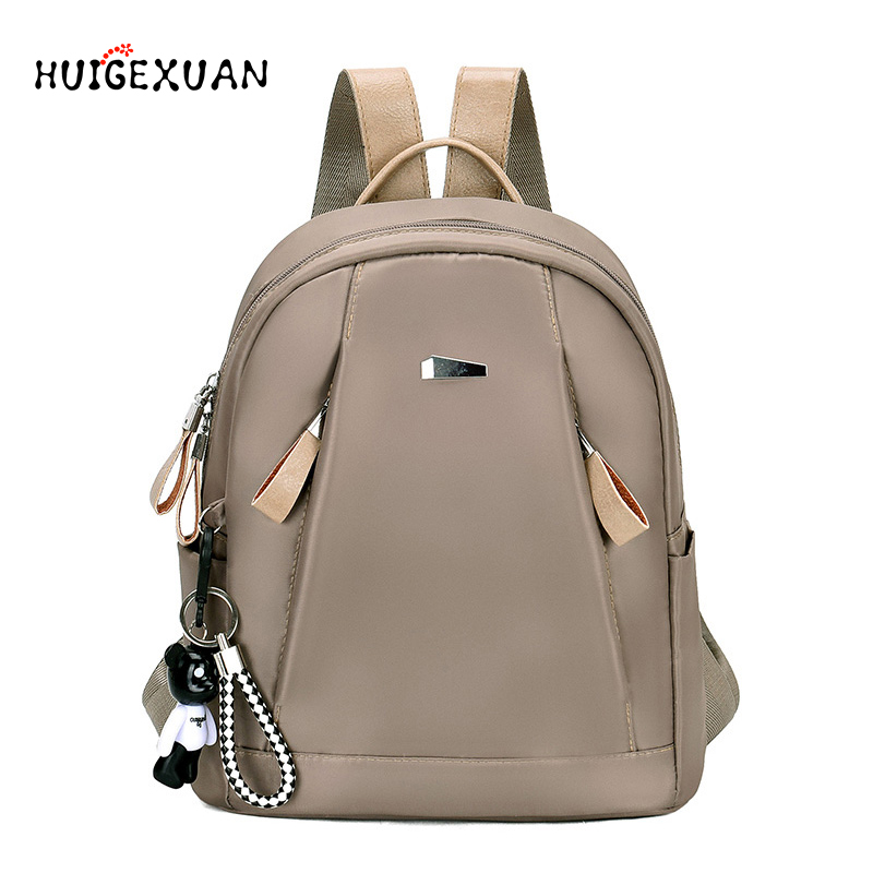 Women Oxford Cloth Backpack Solid Teenage Schoo Backpacks High Quality Waterproof Cute Bear Pendant Feminine