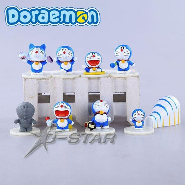 Free Shipping Cute Mini 8pcs Set Doraemon Anime PVC Action Figure Collection Model Toy Gift (8pcs per set)