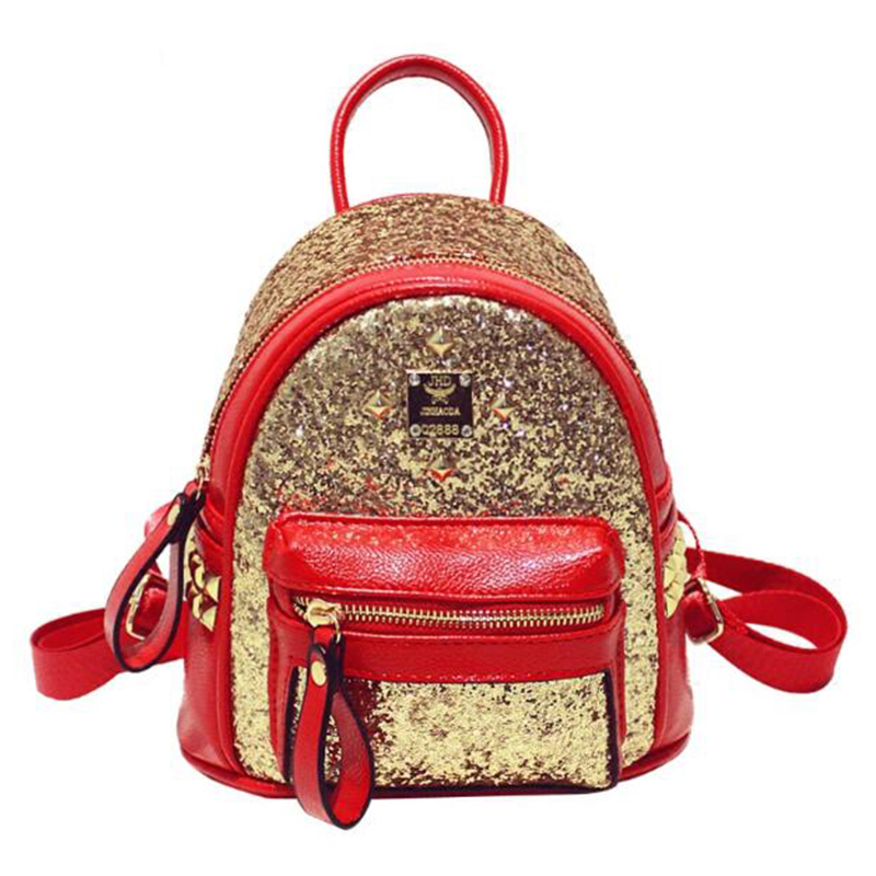 New 2017 Fashion Women Backpack Fashion Embroidered Sequins Backpack Rivet Women Leather Backpack School Bags Travel