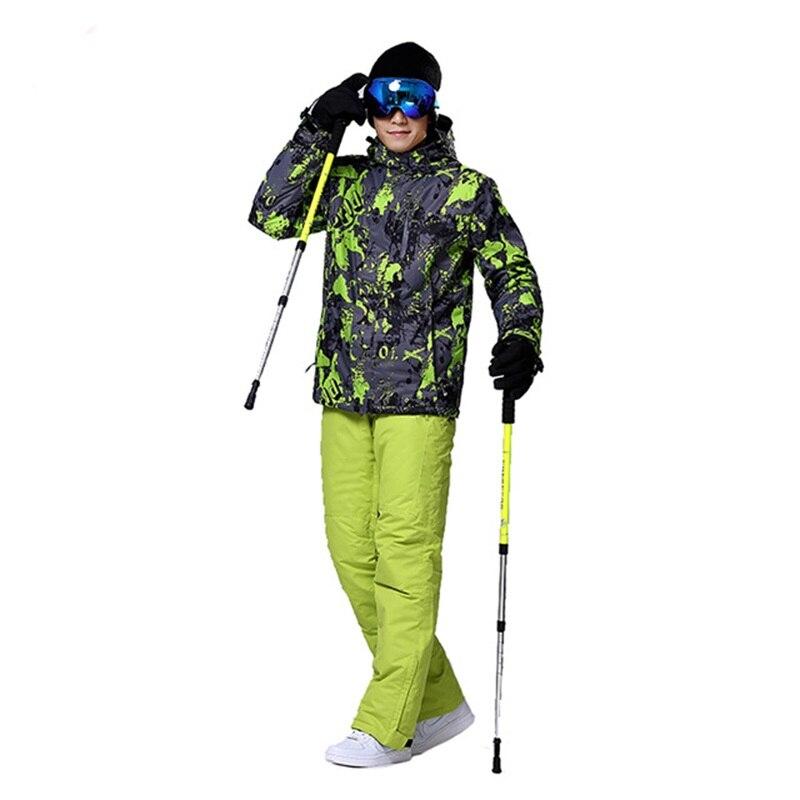 En plein air hommes snowboard costumes hiver chaud ski veste mâle étanche ski veste et pantalon respirant de ski de neige costume pour homme