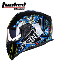 2018 New Knight protection Tanked Racing double lens Motorcycle Helmet Full Face Motorbike Helmets Made of ABS PC lens visor