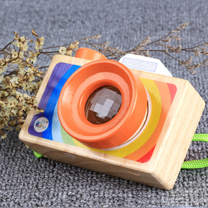 Cute Cartoon Camera Toy Baby Wooden Toy Kid Christmas Birthday Room Decor Photography Wooden Camera Gift Playing House Tool