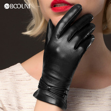 BOOUNI Genuine Leather Gloves Fashion Black Women Sheepskin Glove Winter Plus Velvet Driving Hot Sale NW777