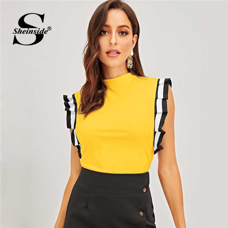 Sheinside Yellow T shirt Women Summer Top Mock Neck Striped Pleated Ruffle Armhole Tee Shirt Female 2019 Slim Fit Elegant Tops