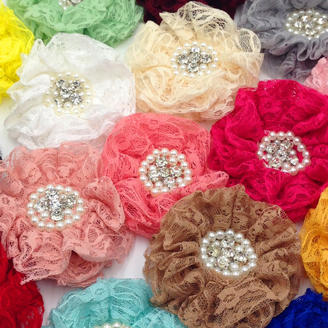 Chiffon com Crystal Guarnição para Headband do Cabelo Cores Handmade Escavado Flor Bead 10mm Decoração Floral Faça Você Mesmo Acessórios 16 Pcs