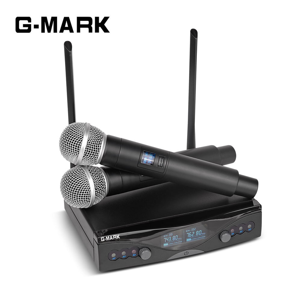 G-MARK UHF Wireless Microphone System Long Range Dual Channel 2 Handheld Mic Transmitter Professional Karaoke Top Quality free shipping professional uhf px24 b 58 karaoke wireless microphone system with super cardioid handheld transmitter microfono