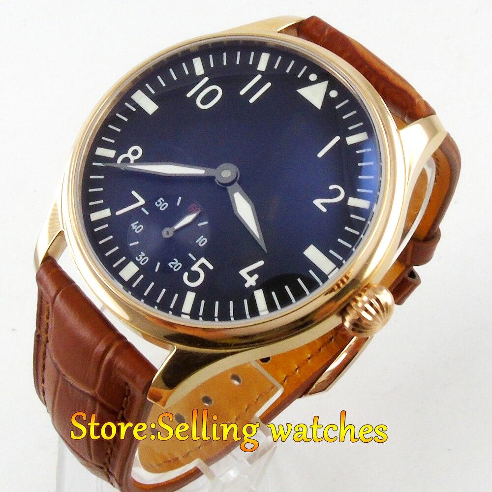PARNIS 44mm hand winding sea gull movement Men's watch Rose gold watch case все цены