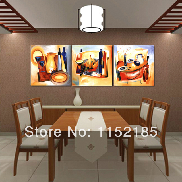 Multi Abstract Still Life Canvas Wall Art Oil Paintings For Dining Room 3 Piece Living