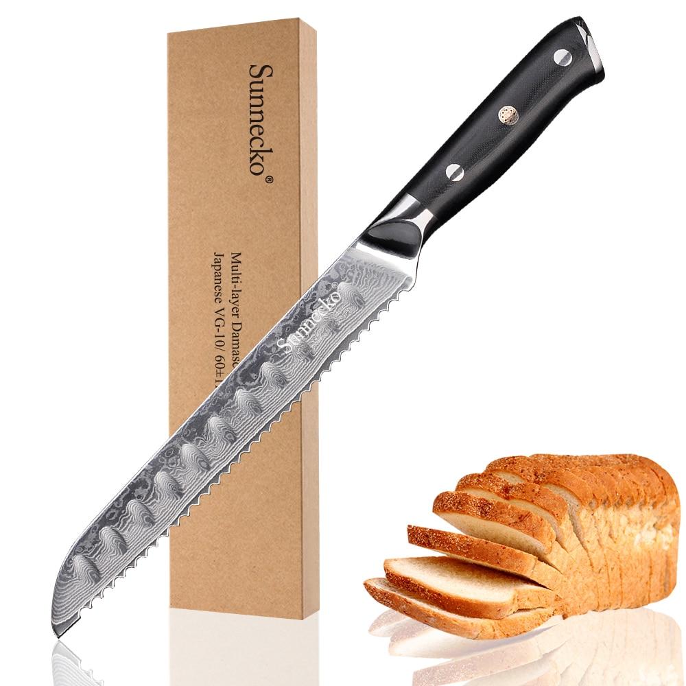 "SUNNECKO Professionele 8 ""inch Brood Mes Damascus Japanse VG10 Staal Blade Cake Cutter Keukenmessen G10 Handvat Koken Tool-in Keukenmessen van Huis & Tuin op  Groep 1"