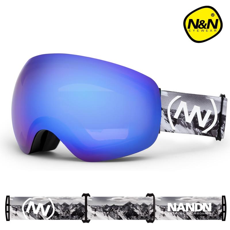 NANDN NEIGE Ski lunettes Grande Lentille Anti-brouillard Homme Femmes ski lunettes grand masque de ski neige snowboard lunettes