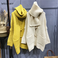 Weinsky Women Knitted Thick Sweaters And Cardigans Ladies Autumn And Winter 2018 Long Oveersized Sweaters Korean Style White
