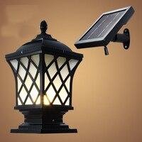 Solaire chapeau de Poteau Lampe Éclairage Extérieur Mur Lampes Balcon LED Applique Étanche Jardin Luminaires En Aluminium lanterne solaire