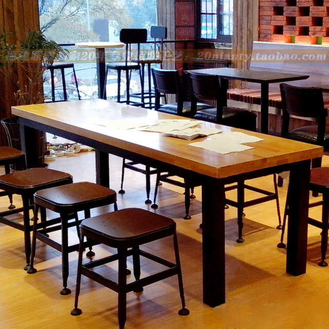 Aliexpresscom Buy Vintage Iron wood tables solid wood dining