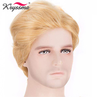 Synthetic Mens Wig Blonde Short Handsome Synthetic Wigs for Men President's Hairstyle Gentleman Heat Resistant Fiber