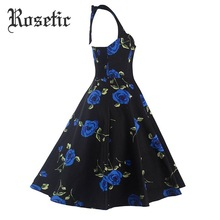 Rosetic Gothic Dress Women Strapless Dress Rose Print Ball Gown Party Dress Summer Black A-line Bow Knee-Length Sleeveless Dress