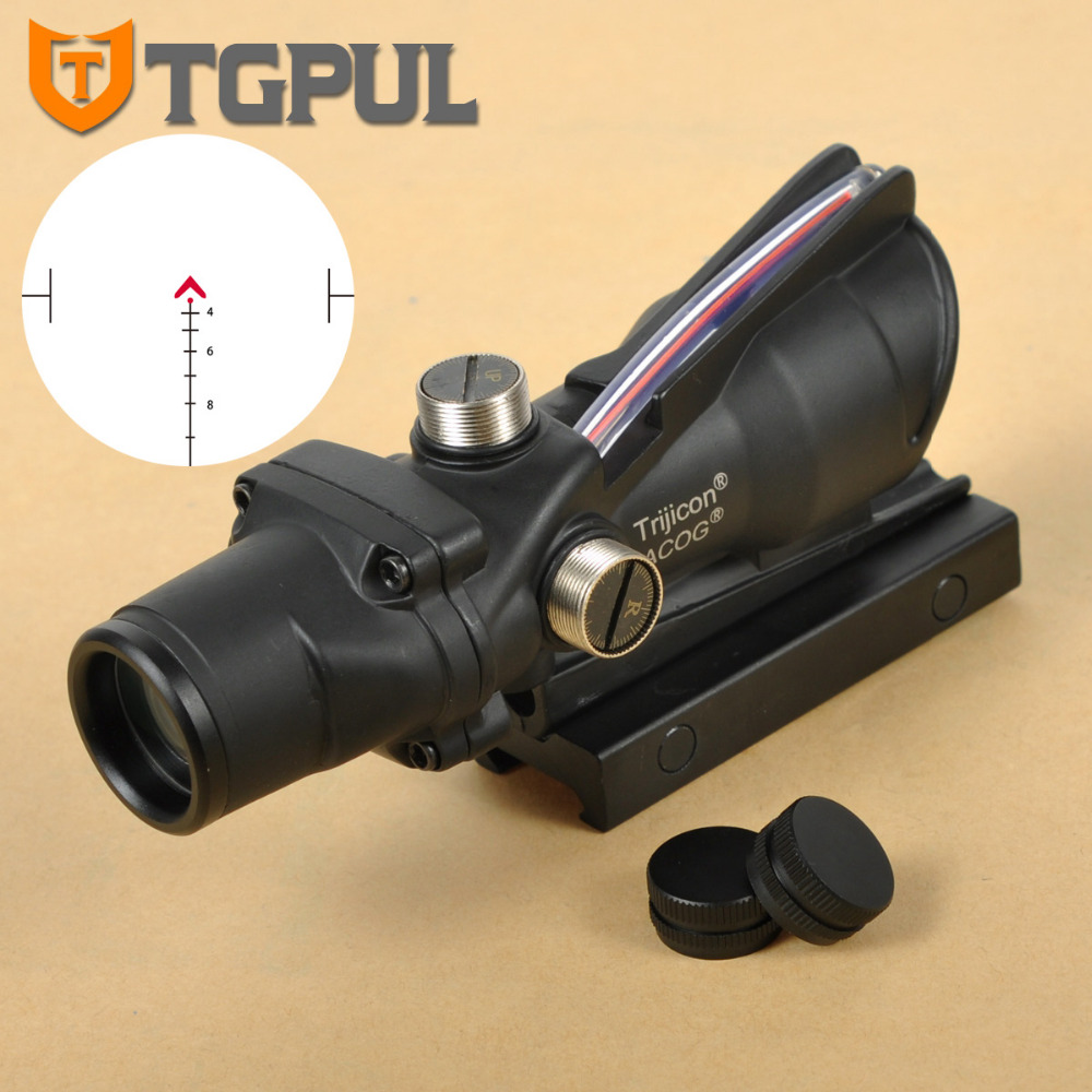 TGPUL Hunting Riflescope ACOG 4X32 Real Fiber Optics Red Green Illuminated Chevron Glass Etched Reticle Tactical Optical Sight 4x32 hunting real optical fiber scope red green glass etched bdc or chevron reticle sights