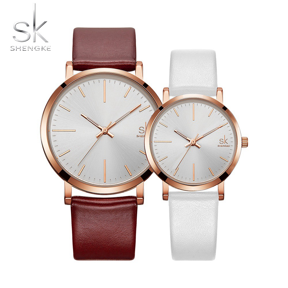 SHENGKE Couple Watches Brown White Leather Strap Quartz Clock Montre Homme Simple Design White Dial Relogio Masculino
