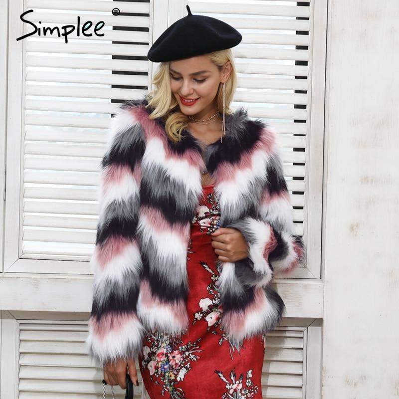 Simplee Rosa mistura de cores do falso casaco de pele das mulheres quente Fofo fêmea outerwear 2017 casaco de inverno jaqueta de manga longa casaco peludo