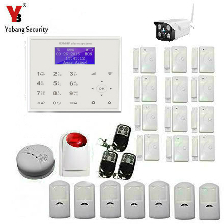YobangSecurity Touch Keypad WIFI GSM SMS Android APP Wireless Home Burglar alarm system Outdoor IP Camera For Home Security 16 ports 3g sms modem bulk sms sending 3g modem pool sim5360 new module bulk sms sending device