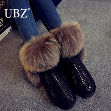 2017 New Fashion Women's Natural Real Fox Fur Snow Boots 100% Genuine Leather women Boots Female Winter Shoes Free shipping