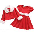 Girls Red Christmas Dress Children Coats and Jackets Little Dots Kids Clothes Set Christmas Halloween Clothing Outfit tyh-50355