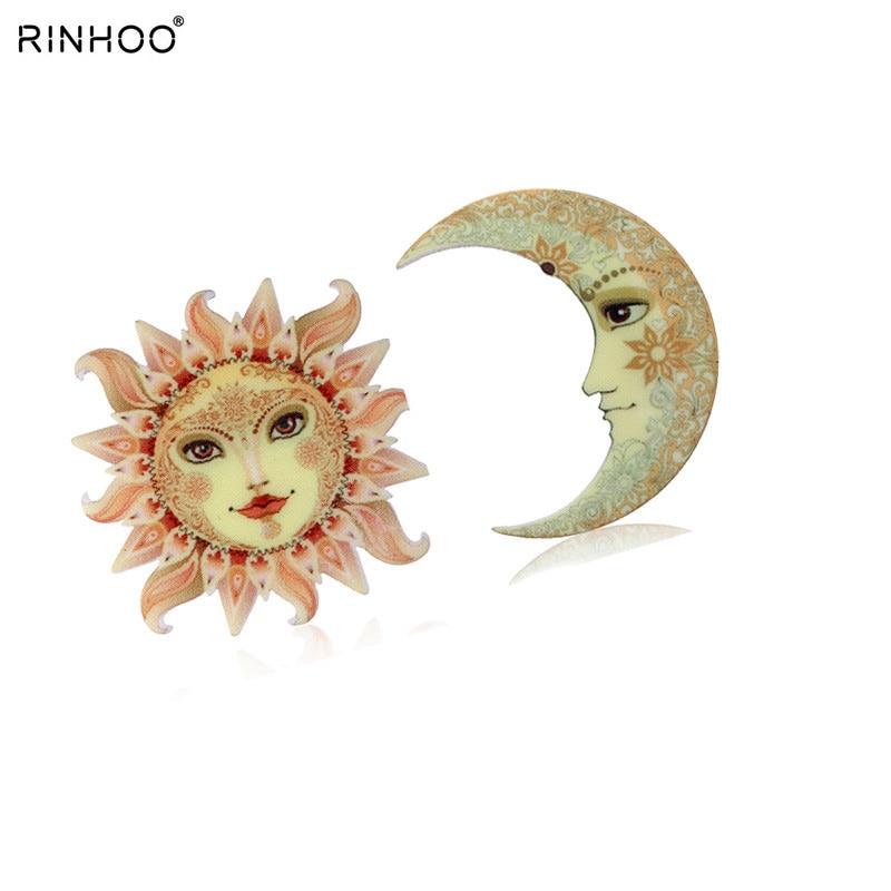 Impressão de acrílico broche sun moon broches bonito broche animal jóias para mulher melhor presente especial