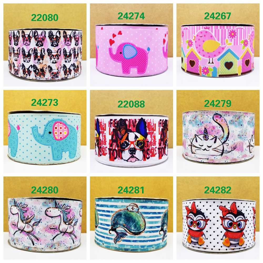 Free shipping 2018 new arrival ribbons Hair Accessories ribbon 10 yards  printed grosgrain ribbons 22088