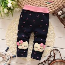 BibiCola autumn winter warm pants baby girls plus velvet thicken leggings kids winter trousers for girl baby warm pants 0-4Y