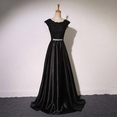 Элегантное вечернее платье с длинным аппликации платье для банкета, вечеринки Потрясающие сатиновое платье для выпускного вечера; Robe De Soiree vestido de festa - Цвет: Черный