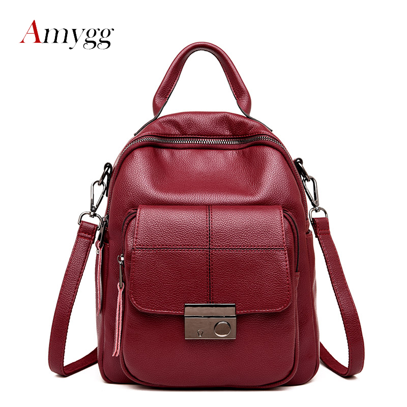 2018 women leather backpack female school solid travel bagpack sac a dos vintage high quality backpacks female back pack ladies