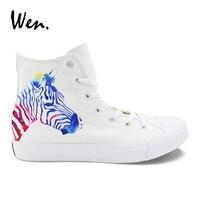 ウェンオリジナルユニセックスデザインゼブラパターンカスタムハンド塗装誕生日の靴高トップ白いキャンバススニーカー用男の子女の子