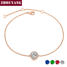 ZHOUYANG Bracelet For Women Round Cut Micro Mosaic Cubic Zirconia Rose Gold Color Silver Color Jewelry