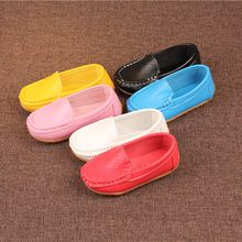 Children Casual Shoes candy colors 6 colors Kid Boys Girls Solid Leather Sport Lazy Sneaker Casual Boat Shoes  Brand Kids Shoes(China)