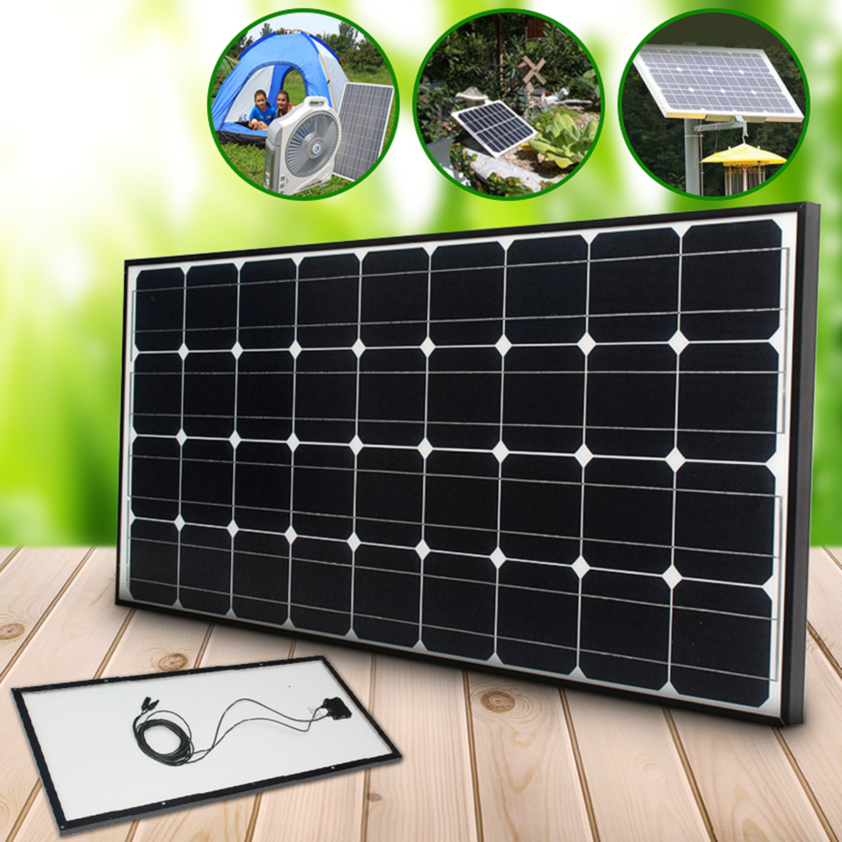 CLAITE 100W Solar Panel 18V 100W Solar Charger For Car Battery 12V Battery Charger Monocrystalline Cells Module Kit For Camping leory 5w 18v solar panel monocrystalline waterproof multi purpose solar cells charger for mobilephone cars boat motorcycle