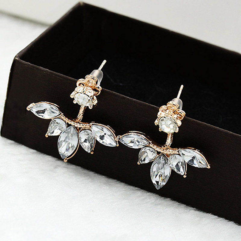 Crystals Leaf Stud Earring Fashion Jewelry for Women gold color Double Sided Earrings female Ear Jacket
