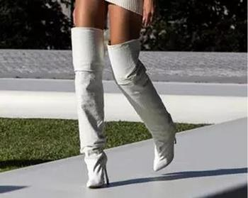 Summer 2019 Lady Solid White Leather Thigh High Boots Women over knee Boots High Heel Gladiator Boots Female Zipper Dress Shoes