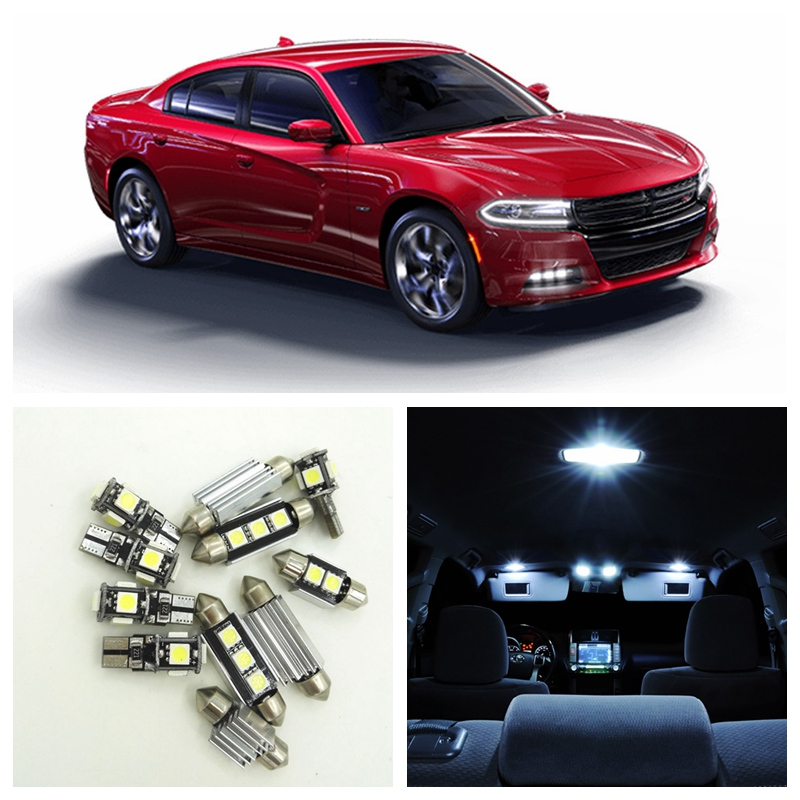 13pcs Canbus White Car LED Light Bulbs Interior Package Kit For 2011-2015 Dodge Charger Map Dome Trunk License Plate Lamp 16pcs canbus car white led light bulbs interior package kit for 2011 2012 2013 2014 2015 volvo s60 map dome trunk door lamp