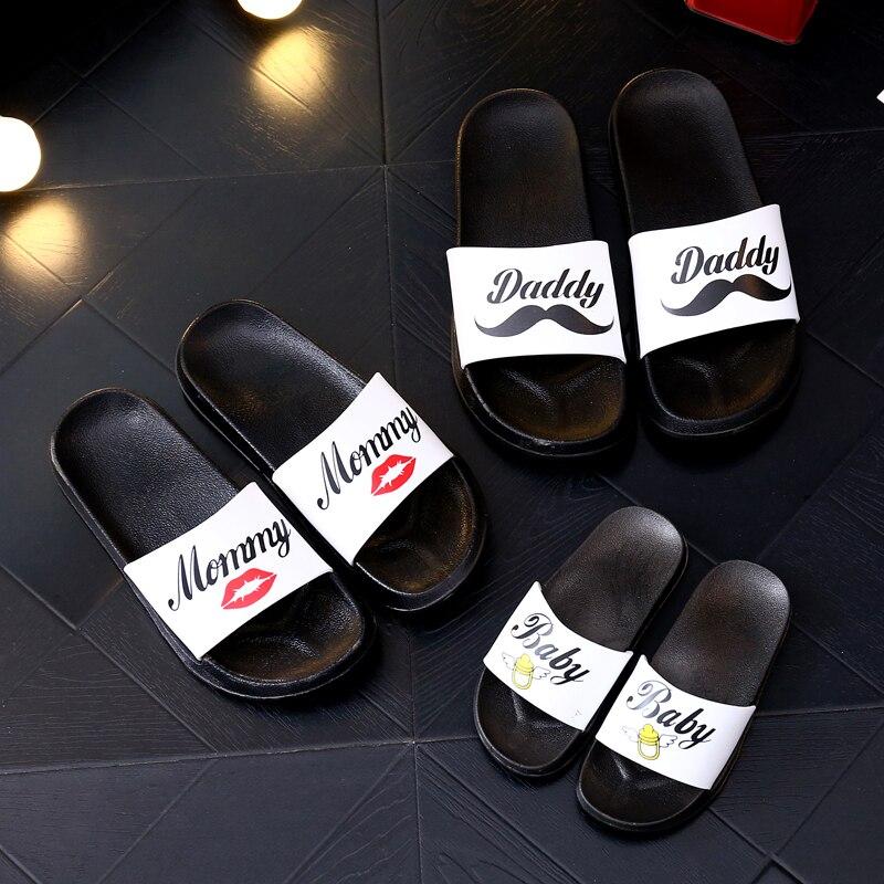 Matching Dad Mom Kids Bathroom Slippers