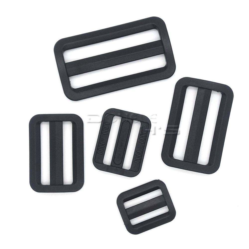 Buckles & Hooks Able 20pcs/lot Plastic Black Curve Tri-glide Slider Adjustable Buckle For Bags Webbing Utmost In Convenience