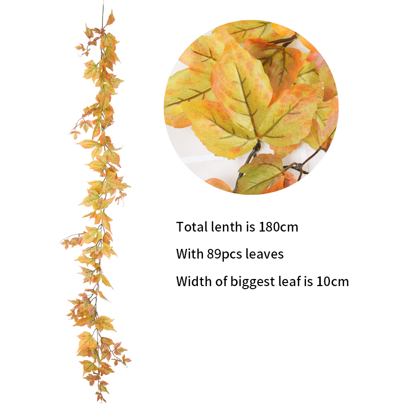 Windowill Autumn Leaves Garland Maple Leaf Vine Fake Foliage home garden Decoration Artificial Vine For Wedding Party Home Decor