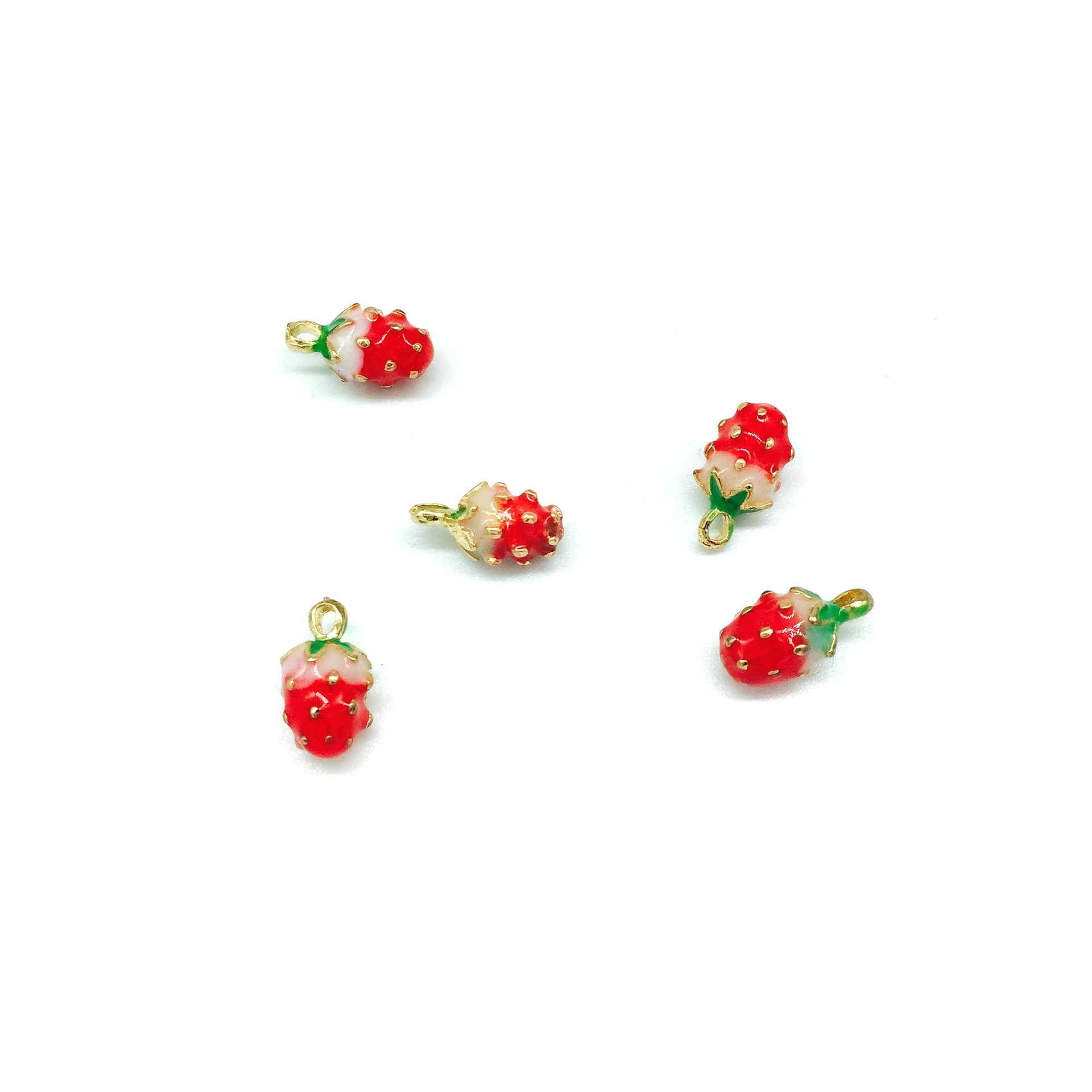 10 PC Fruit Pendant Strawberry Charm for Necklace Dangle Charm for Bracelet Charm Diy Jewelry Findings