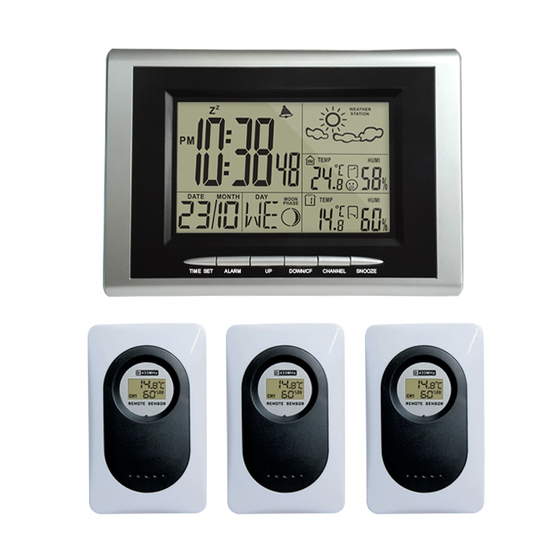 Classic Digital Alarm Clock Indoor Outdoor Temperture Humidity Meter Wireless Weather Station Most Up 3 RF
